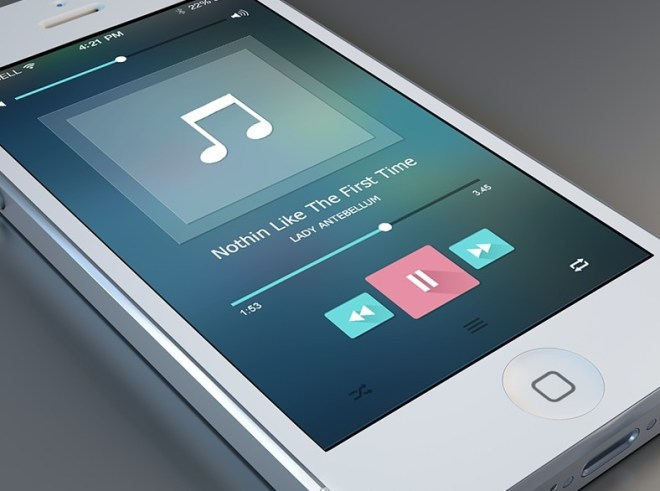 Flat Music Player Interface For iPhone PSD