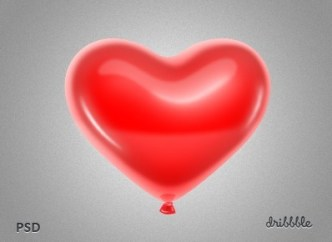 Red Love Heart Balloon PSD