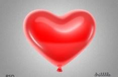 Red Love Heart Balloon PSD