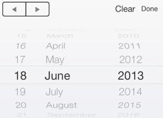 iOS 7 Styled Date Picker Widget PSD