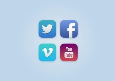 4 iOS 7 Style Social Icons PSD