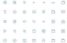 Blue Line Style Web Icon Set PSD