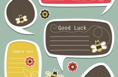 Set Of Vector Lovely Cartoon Text Frames 01