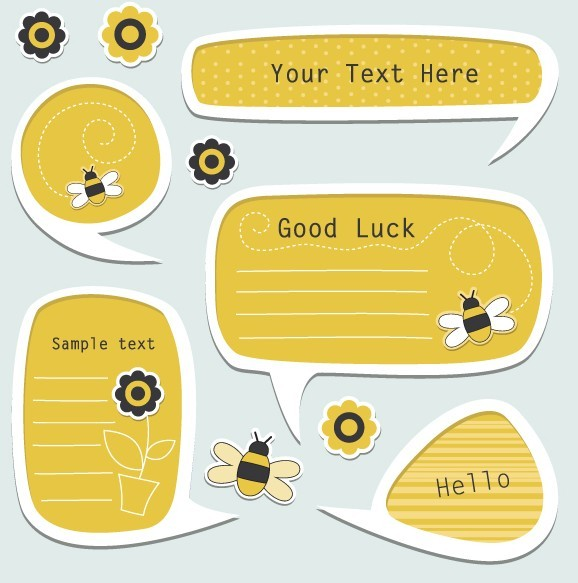 Set Of Vector Lovely Cartoon Text Frames 04