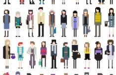 Vector Fashion Pixel People Collection 02
