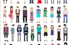 Vector Fashion Pixel People Collection 03