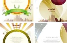 Set Of Vector Asadal Colorful Vintage Background