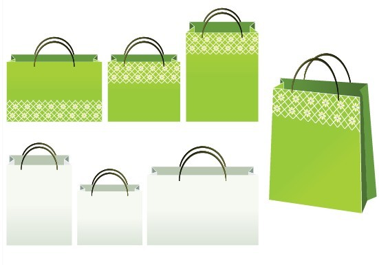 Set Of Vector Green and White Paper Shopping Bags