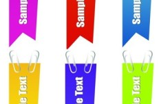 Set Of Vector Colored Labels with Paperclips
