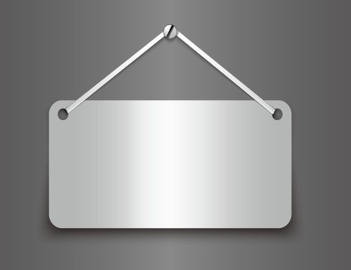 Metallic Board Hanging From A Nail Vector