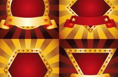 Set Of Holiday Marquee Emblems with Ribbons Vector