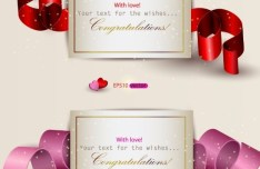 Romantic Congratulation Cards with Ribbons Vector