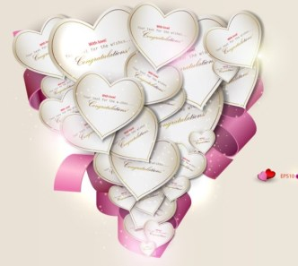 Romantic Heart Label with Pink Ribbon Vector