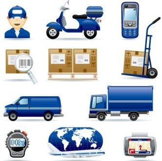 Set Of Blue Express Delivery Icons