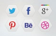 6 Hexagon Social Icons PSD