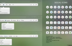 Pack Of 3 Web Menus + 30 Social Media Icons PSD