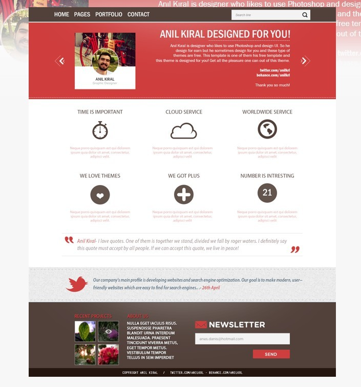 Free Red And White Business Website Template Psd Titanui