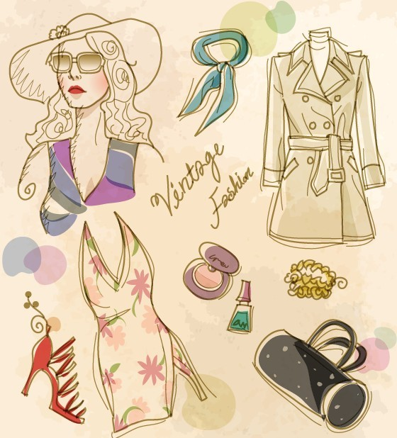 Vector Vintage Illustration Of Fashion Girl and Women's Accessories 06