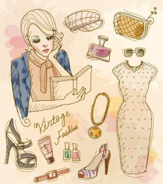 Vector Vintage Illustration Of Fashion Girl and Women's Accessories 08