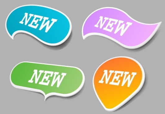 4 Clean New Product Labels Vector