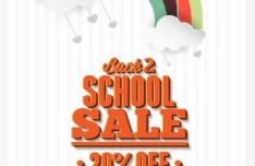 Clean Back To School Sale Flyer Template Vector 01
