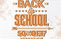 Clean Back To School Sale Flyer Template Vector 03