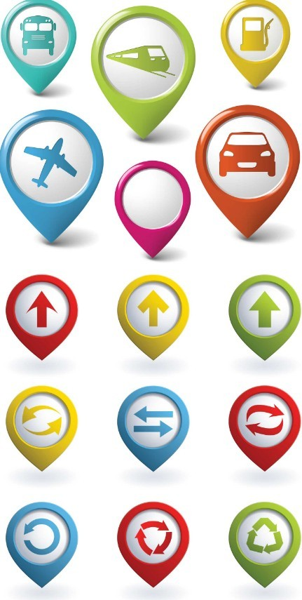 Set Of Vector Colored Map Marker Pointer Icons
