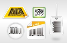 Set Of Vector QR Code & Barcode Label Stickers 01