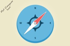 Flat Styled Compass Icon PSD