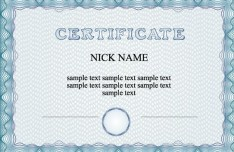 Simple Blue Vector Certificate Template