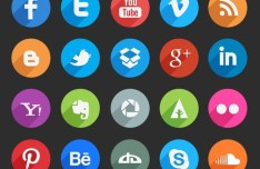 Circle Social Media Icons With Long Shadows PSD