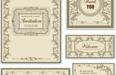 Elegant Wedding Invitation Card Design Vector 02