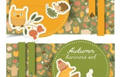 Set Of Vector Beautiful Autumn Banners 02