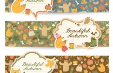 Set Of Vector Beautiful Autumn Banners 03