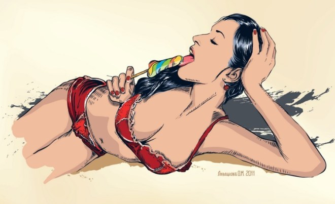Bikini Girl with Ice Cream Vector