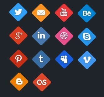 Flat Social Hex Icon Set PSD