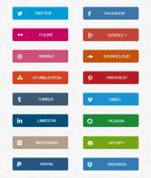 Flat Social Media Share Button Set PSD