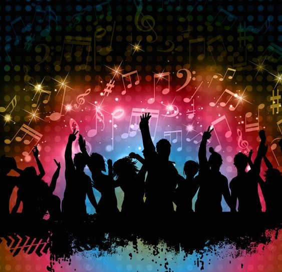 Cool Night Music Party Background Vector 02