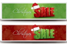2 Clean Christmas Sale Banners Vector