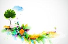 Bright & Colorful Grunge Splash Flower Background Vector 02
