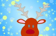 Cartoon Christmas Elk and Snowflakes Background Vector 03