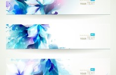 Set Of Vector Blue Flower Splash Banners
