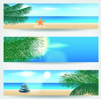 Set Of Vector Summer Paradise Banners 02