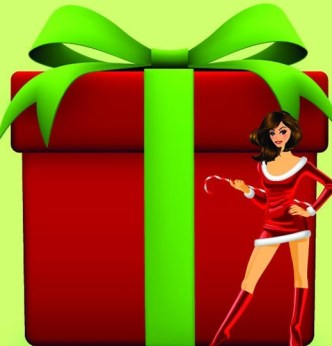 Set of Sexy Santa Girls and Red Gift Boxes Vector 05