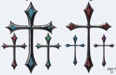 4 Gothic Cross Styles PSD
