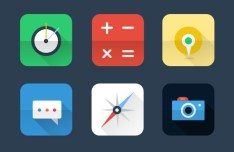 6 Flat Long Shadow Icons with Reflection PSD