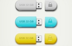 3 Colors USB Drive Mockup PSD