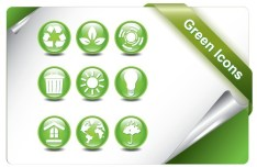 ECO Concept Green Icon Set Vector 01