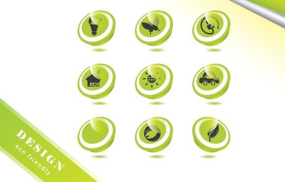 ECO Concept Green Icon Set Vector 02