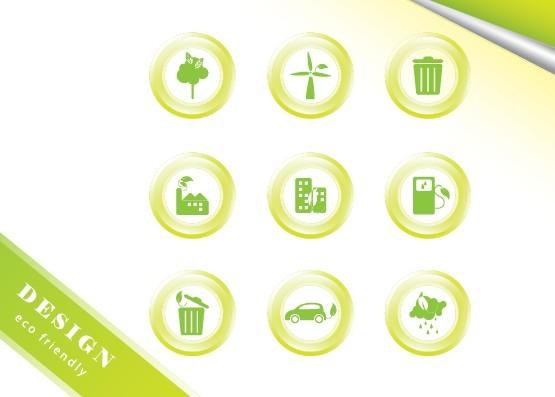 ECO Concept Green Icon Set Vector 04